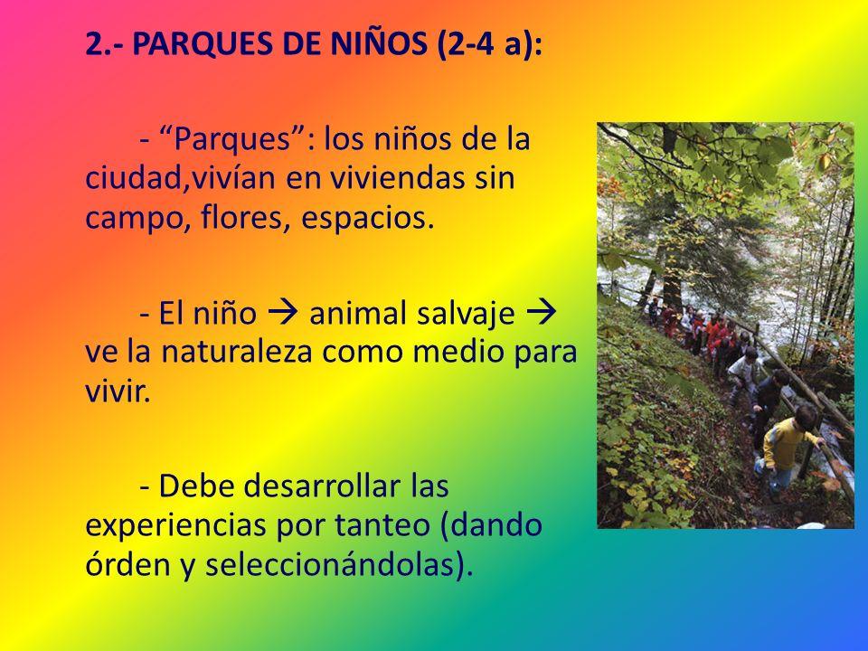 2.- PARQUES DE NIÑOS (2-4 a): - Parques : los niños de la ciudad,vivían en viviendas sin campo, flores, espacios.