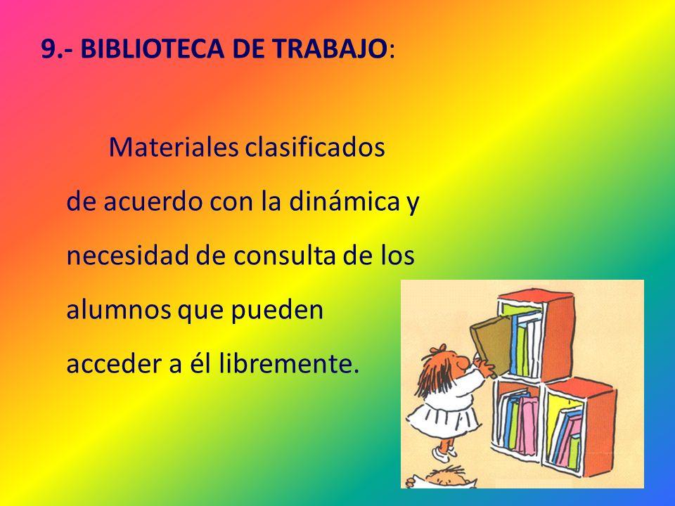 9.- BIBLIOTECA DE TRABAJO: Materiales clasificados de acuerdo con la dinámica y necesidad de consulta de los alumnos que pueden acceder a él libremente.