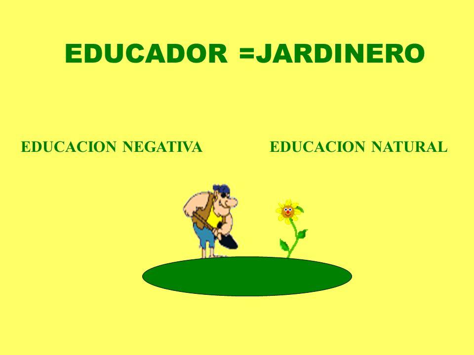 EDUCADOR =JARDINERO EDUCACION NEGATIVA EDUCACION NATURAL