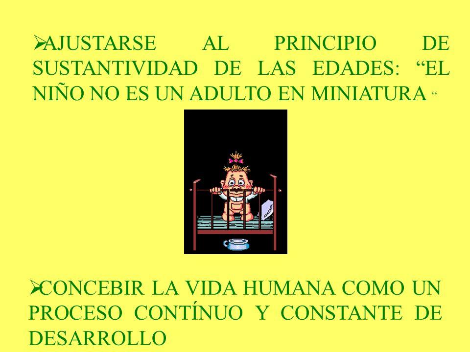 AJUSTARSE AL PRINCIPIO DE SUSTANTIVIDAD DE LAS EDADES: EL NIÑO NO ES UN ADULTO EN MINIATURA