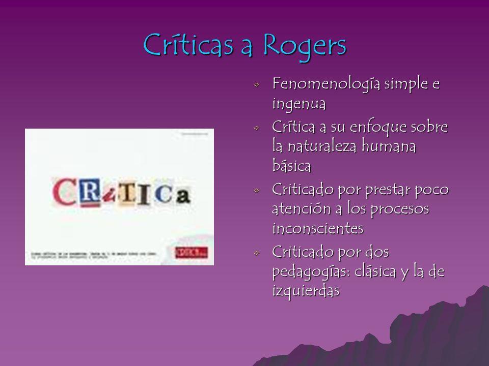 Críticas a Rogers Fenomenología simple e ingenua