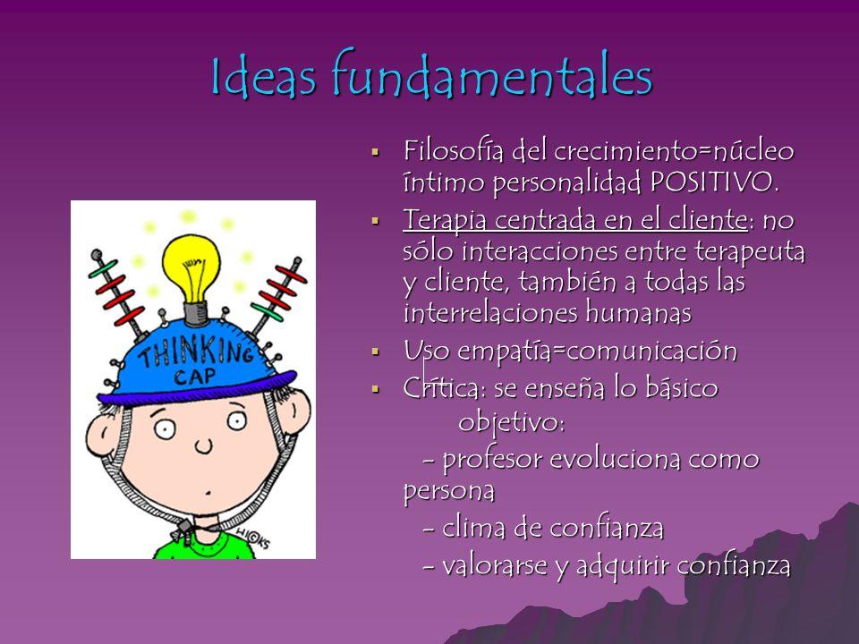 Ideas fundamentales Filosofía del crecimiento=núcleo íntimo personalidad POSITIVO.