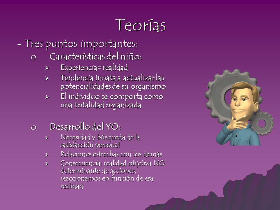 Teorías - Tres puntos importantes: Características del niño: