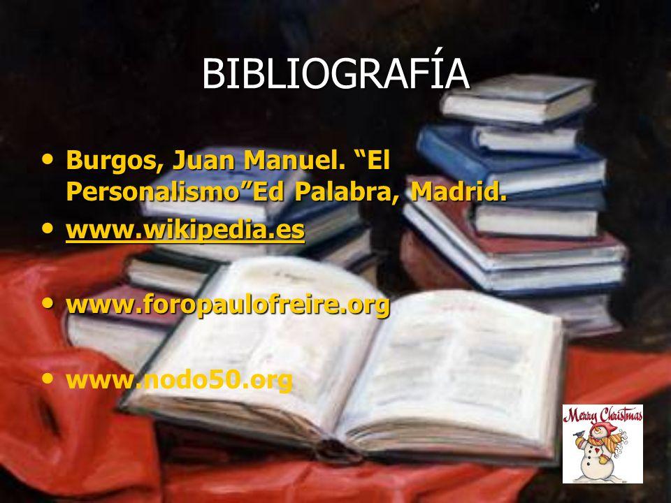 BIBLIOGRAFÍA Burgos, Juan Manuel. El Personalismo Ed Palabra, Madrid.