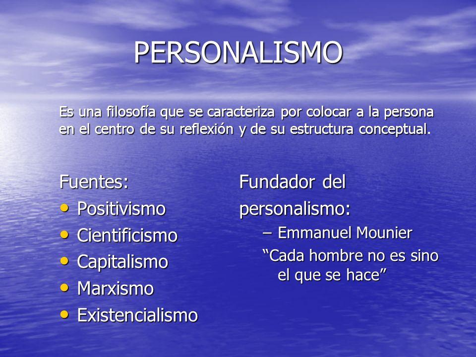 PERSONALISMO Fuentes: Positivismo Cientificismo Capitalismo Marxismo