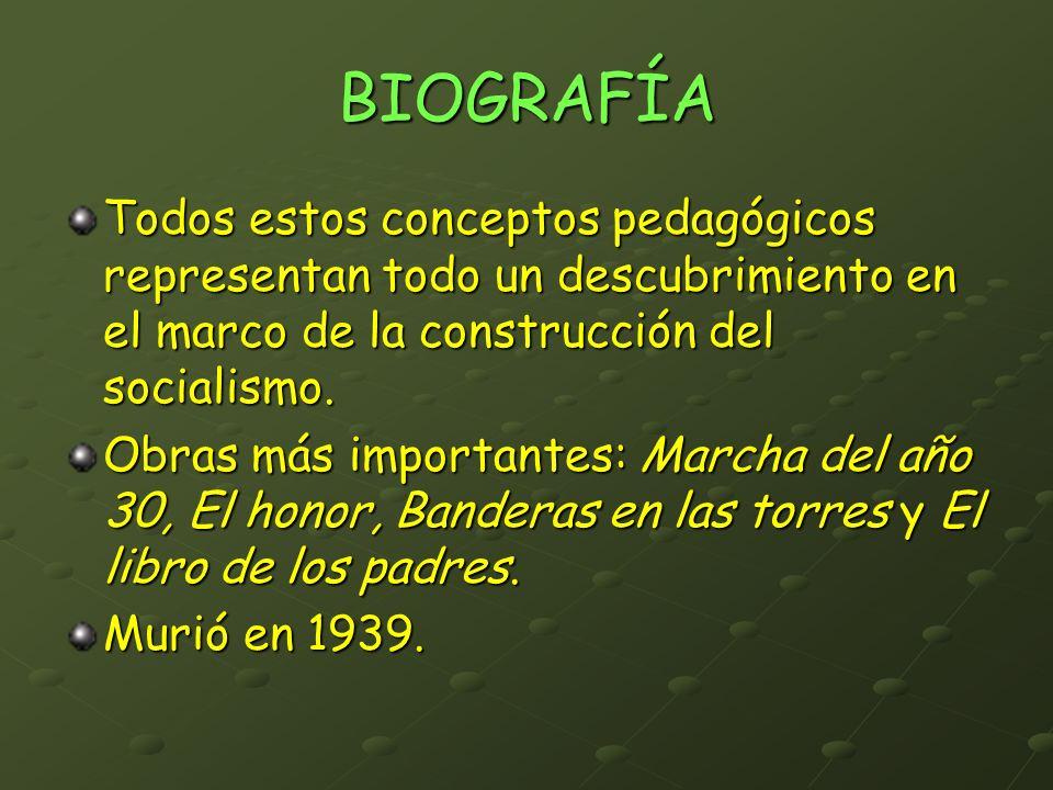 BIOGRAFÍA Todos estos conceptos pedagógicos representan todo un descubrimiento en el marco de la construcción del socialismo.