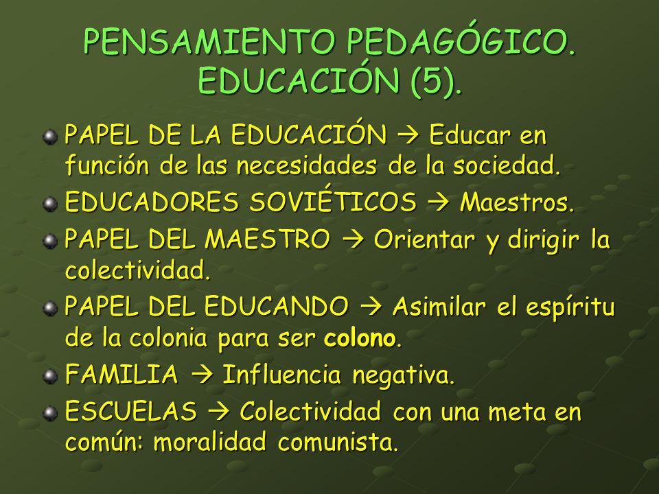 PENSAMIENTO PEDAGÓGICO. EDUCACIÓN (5).