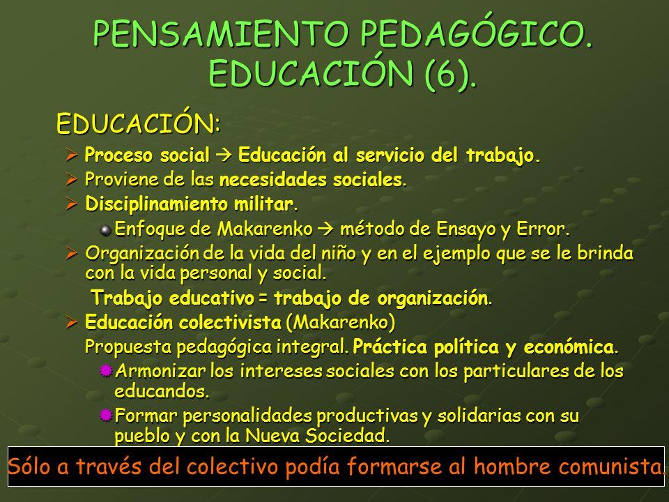 PENSAMIENTO PEDAGÓGICO. EDUCACIÓN (6).