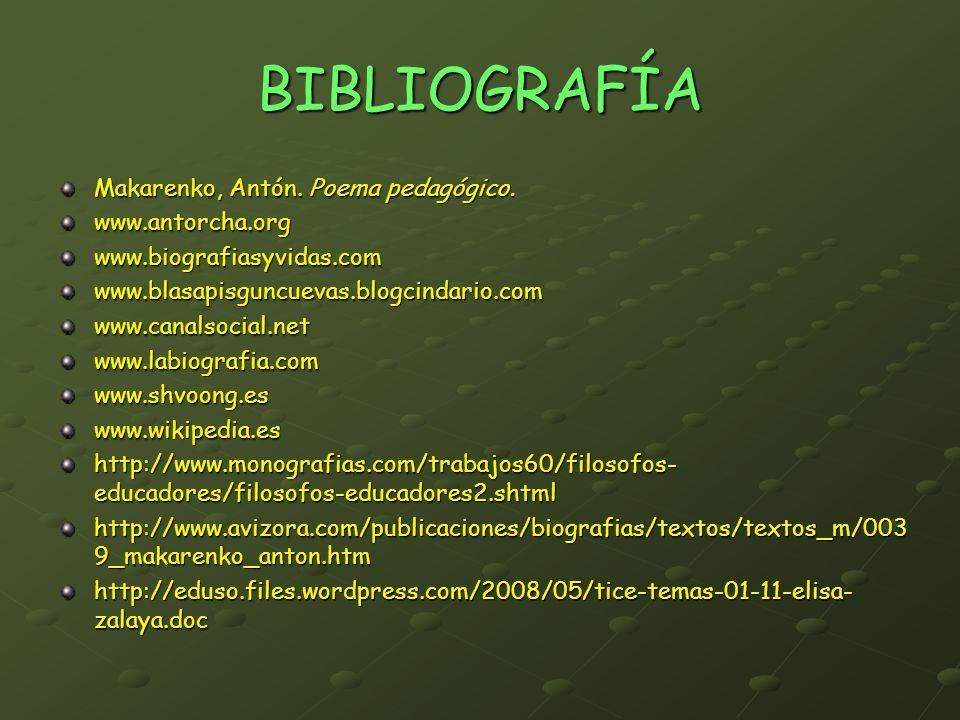 BIBLIOGRAFÍA Makarenko, Antón. Poema pedagógico. www.antorcha.org
