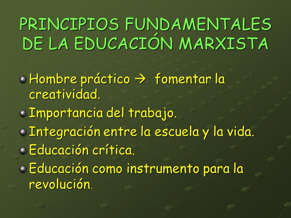PRINCIPIOS FUNDAMENTALES DE LA EDUCACIÓN MARXISTA