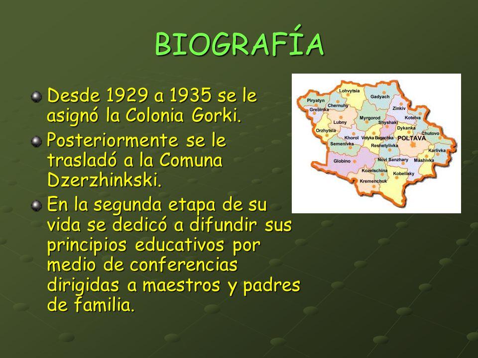 BIOGRAFÍA Desde 1929 a 1935 se le asignó la Colonia Gorki.