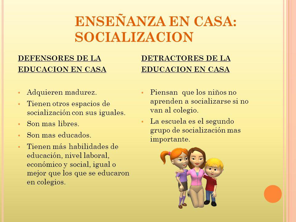ENSEÑANZA EN CASA: SOCIALIZACION