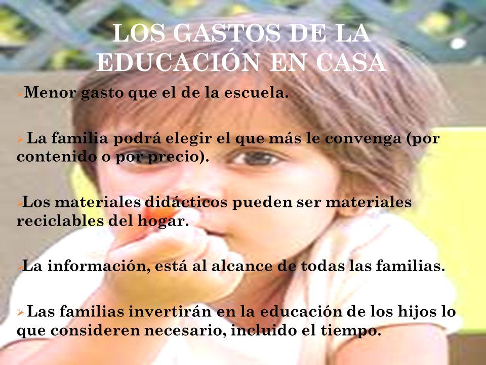 LOS GASTOS DE LA EDUCACIÓN EN CASA