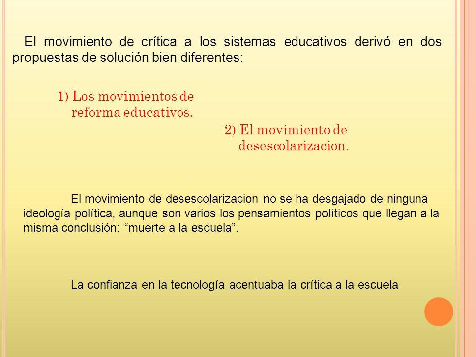 1) Los movimientos de reforma educativos.