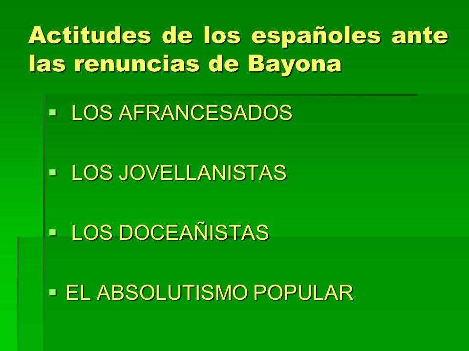 Actitudes de los españoles ante las renuncias de Bayona