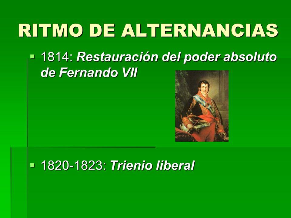 RITMO DE ALTERNANCIAS 1814: Restauración del poder absoluto de Fernando VII.