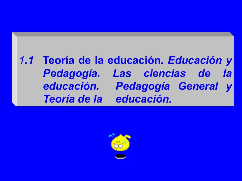 1. 1. Teoría de la educación. Educación y. Pedagogía