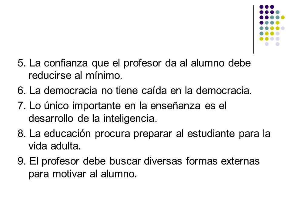 5. La confianza que el profesor da al alumno debe reducirse al mínimo.