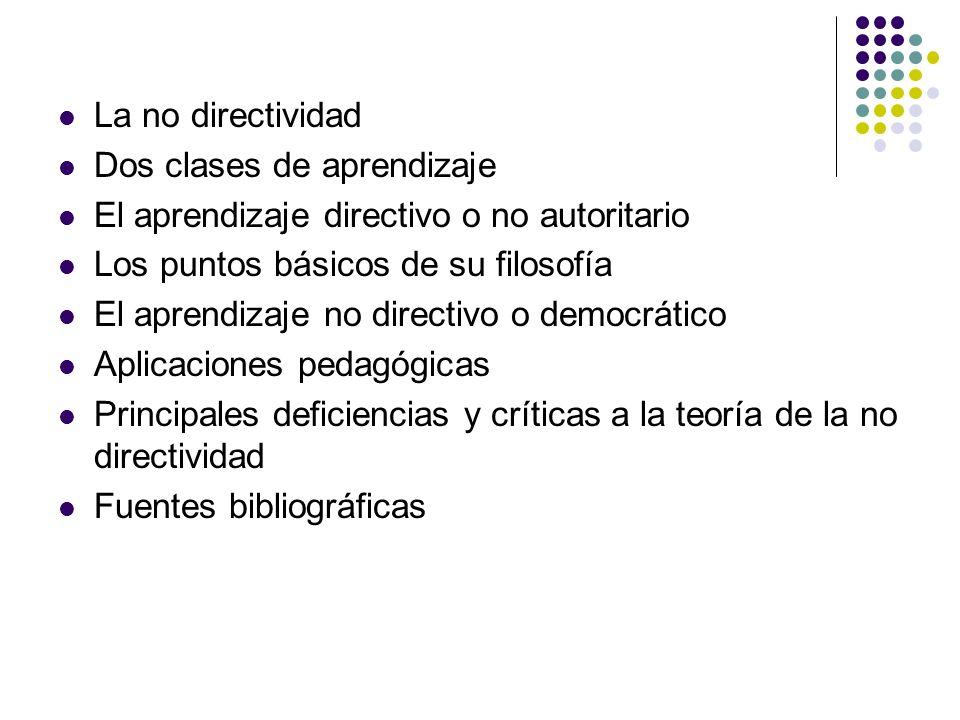 La no directividad Dos clases de aprendizaje. El aprendizaje directivo o no autoritario. Los puntos básicos de su filosofía.