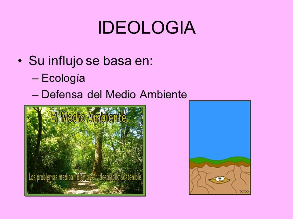 IDEOLOGIA Su influjo se basa en: Ecología Defensa del Medio Ambiente