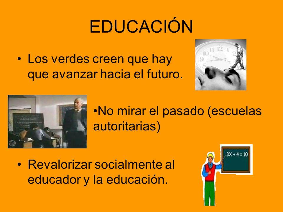 EDUCACIÓN Los verdes creen que hay que avanzar hacia el futuro.