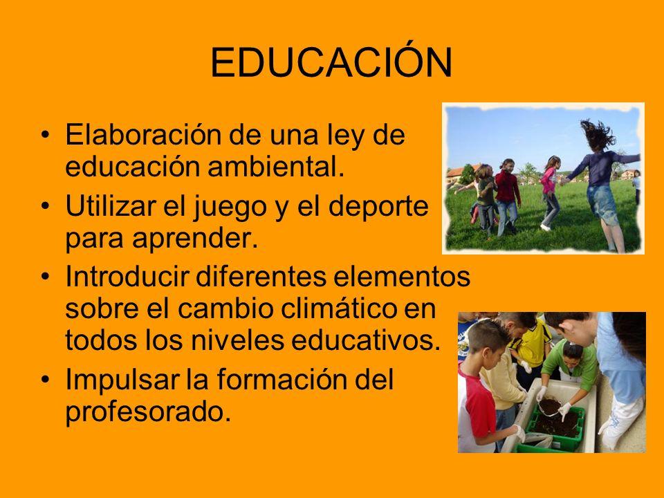 EDUCACIÓN Elaboración de una ley de educación ambiental.