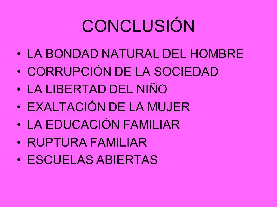 CONCLUSIÓN LA BONDAD NATURAL DEL HOMBRE CORRUPCIÓN DE LA SOCIEDAD
