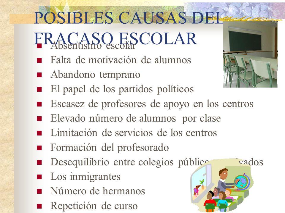 POSIBLES CAUSAS DEL FRACASO ESCOLAR