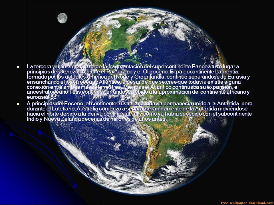 La tercera y última gran fase de la fragmentación del supercontinente Pangea tuvo lugar a principios del Cenozoico, entre el Paleoceno y el Oligoceno. El paleocontinente Laurentia, formado por los actuales América del Norte y Groenlandia, continuó separándose de Eurasia y ensanchando el joven océano Atlántico, a pesar de que se cree que todavía existía alguna conexión entre ambas masas terrestres. Mientras el Atlántico continuaba su expansión, el ancestral océano Tetis continuó cerrándose debido a la aproximación del continente africano y euroasiático.