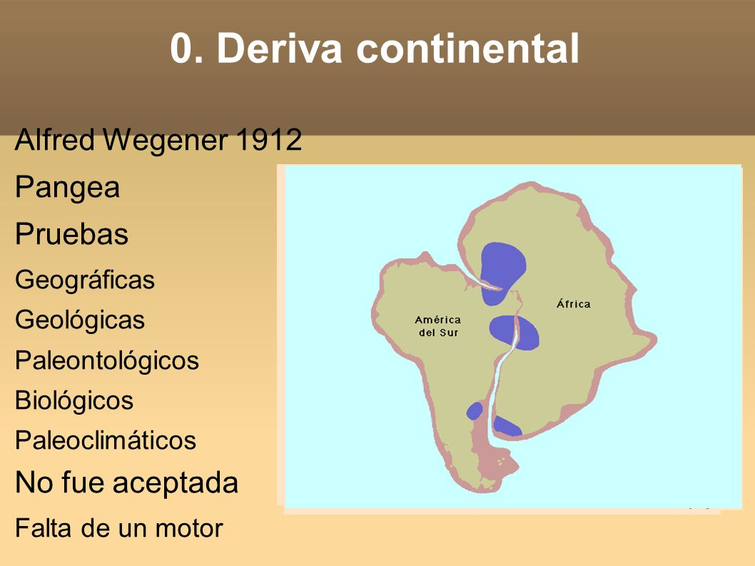 0. Deriva continental Alfred Wegener 1912 Pangea Pruebas
