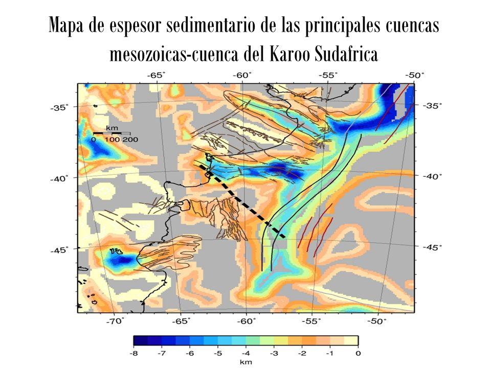Mapa de espesor sedimentario de las principales cuencas mesozoicas-cuenca del Karoo Sudafrica