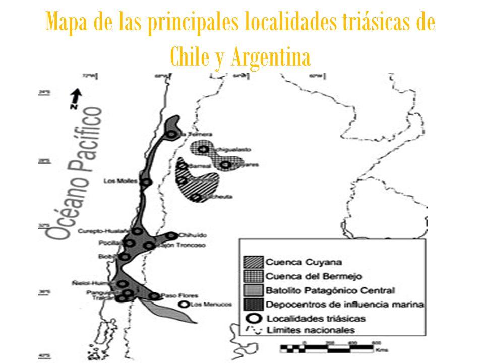 Mapa de las principales localidades triásicas de Chile y Argentina