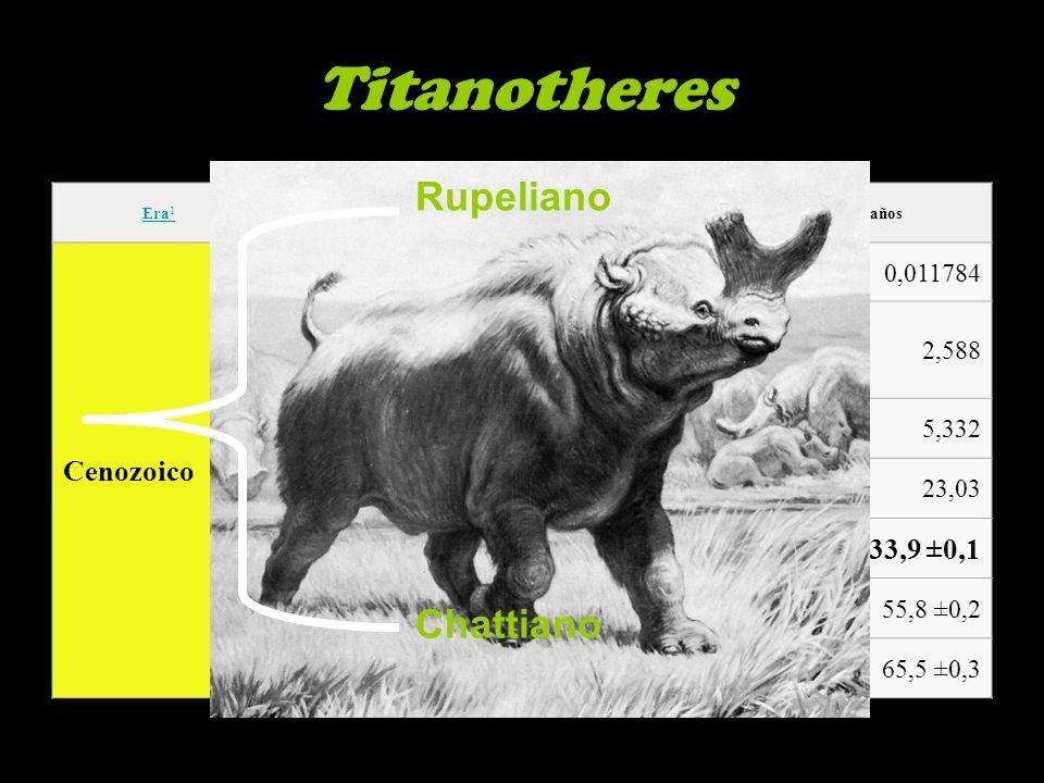 Titanotheres Rupeliano Chattiano Cenozoico Paleógeno Oligoceno