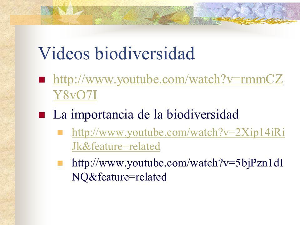Videos biodiversidad http://www.youtube.com/watch v=rmmCZY8vO7I
