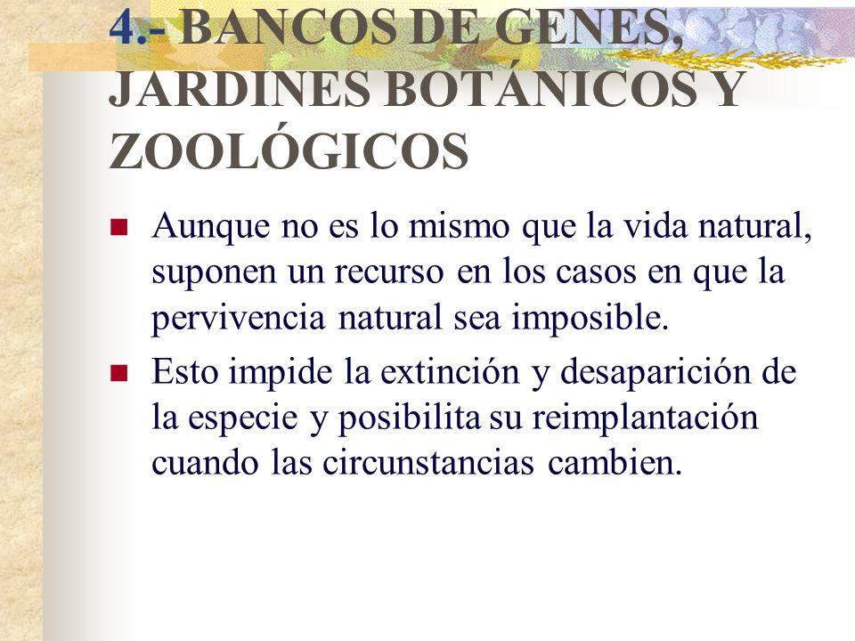 4.- BANCOS DE GENES, JARDINES BOTÁNICOS Y ZOOLÓGICOS