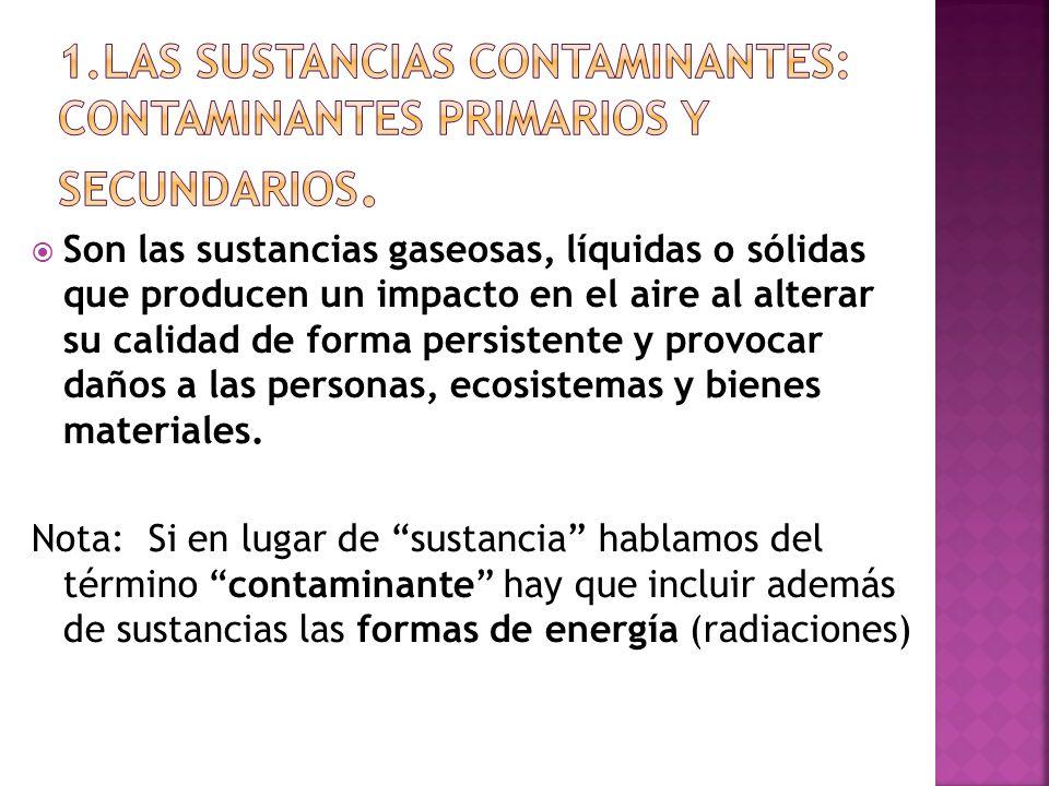 1.Las sustancias contaminantes: contaminantes primarios y secundarios.
