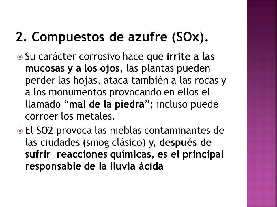 2. Compuestos de azufre (SOx).