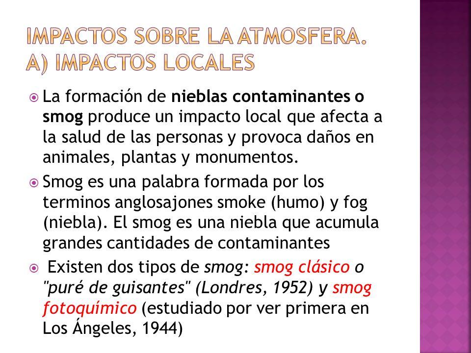 Impactos sobre la atmosfera. A) impactos locales