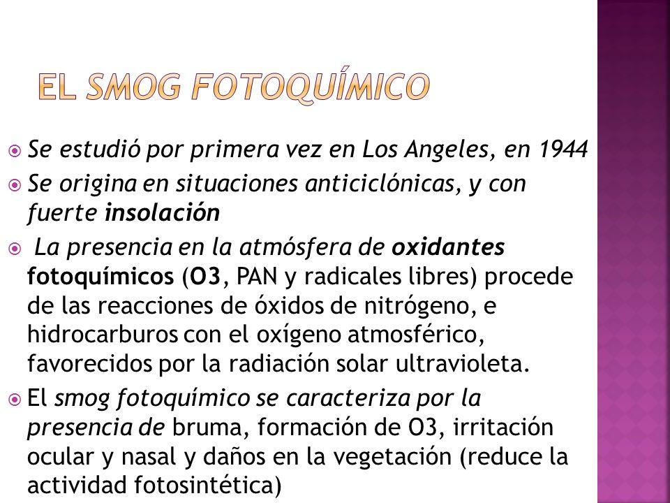 El smog fotoquímico Se estudió por primera vez en Los Angeles, en 1944