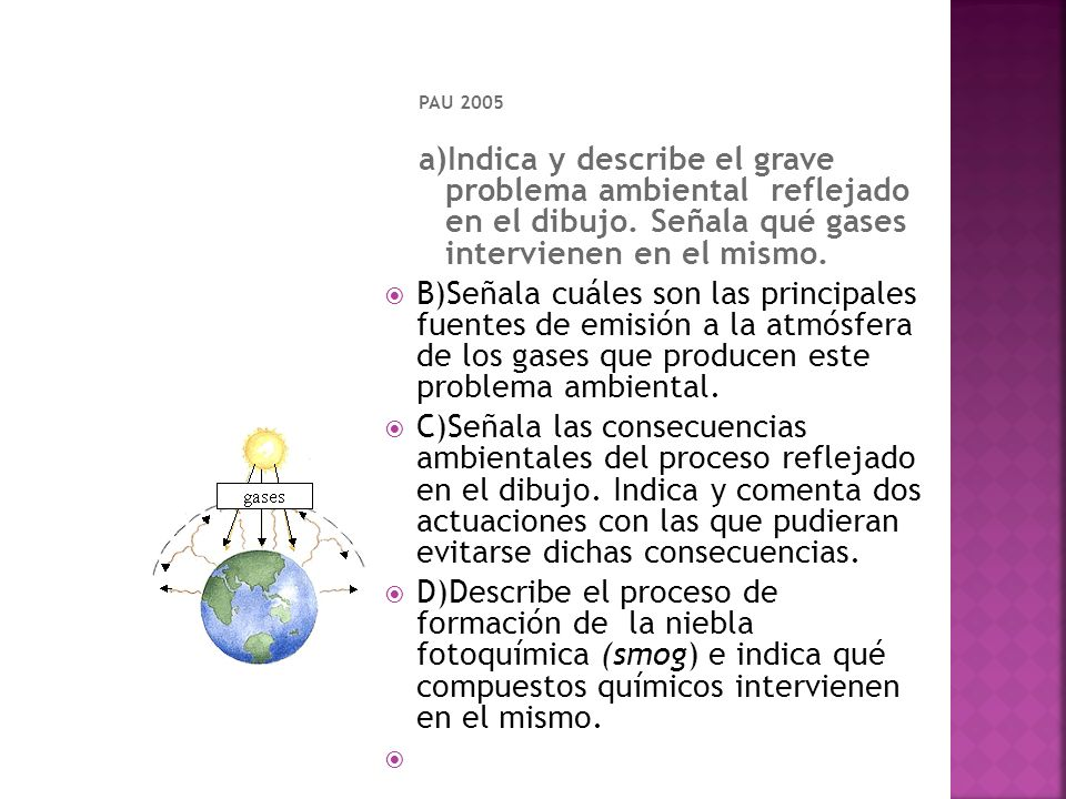 PAU 2005 a)Indica y describe el grave problema ambiental reflejado en el dibujo. Señala qué gases intervienen en el mismo.