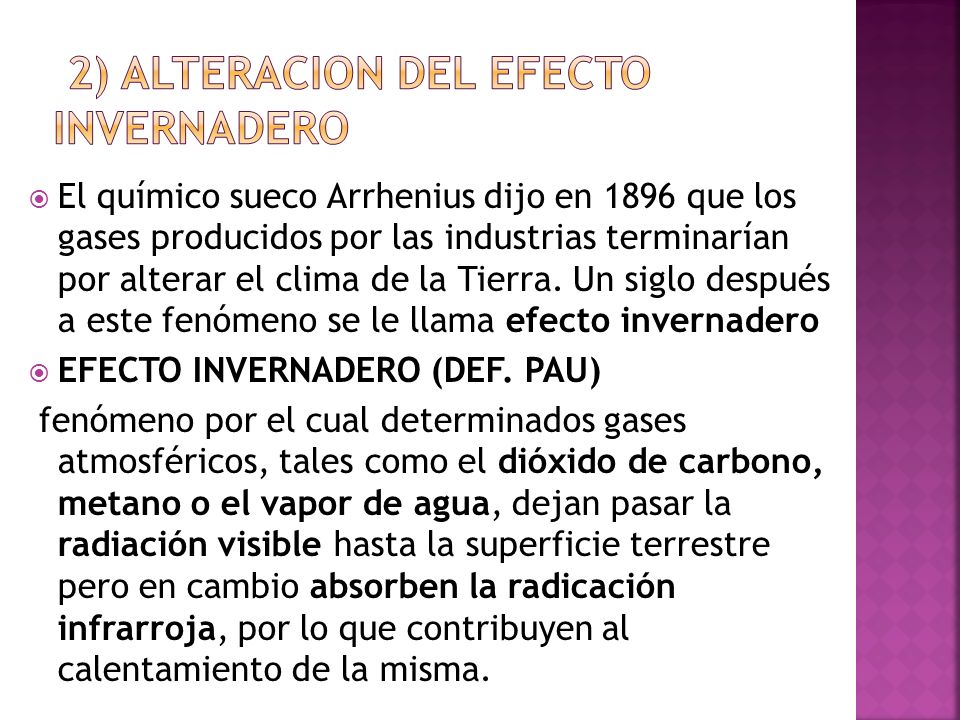 2) ALTERACION DEL EFECTO INVERNADERO