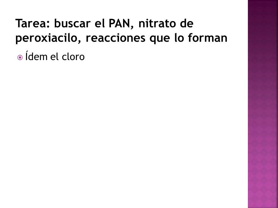 Tarea: buscar el PAN, nitrato de peroxiacilo, reacciones que lo forman