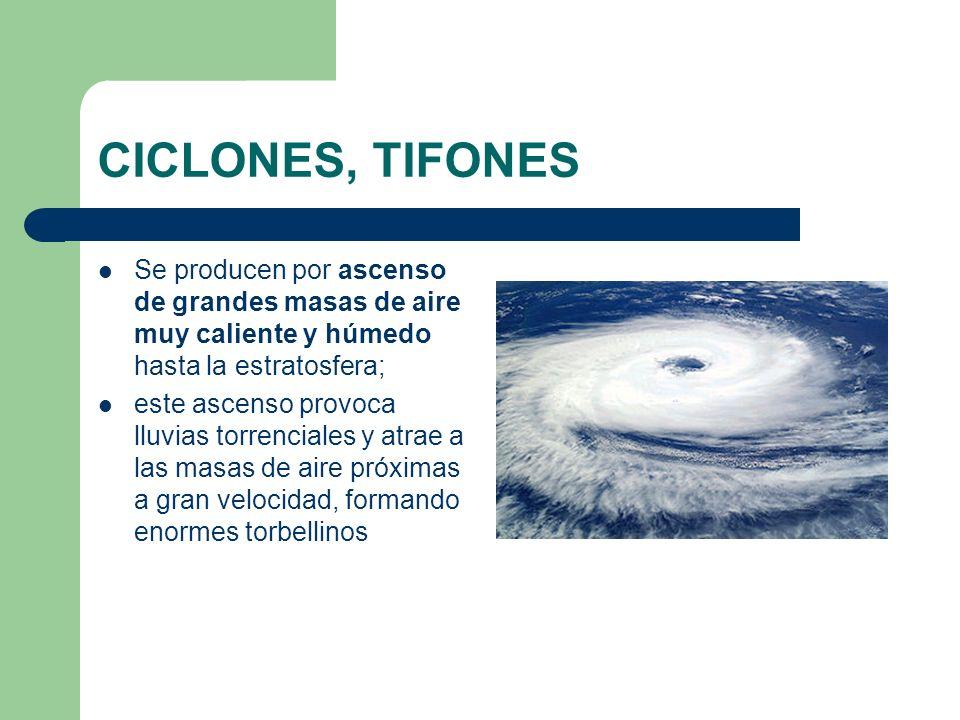 CICLONES, TIFONES Se producen por ascenso de grandes masas de aire muy caliente y húmedo hasta la estratosfera;