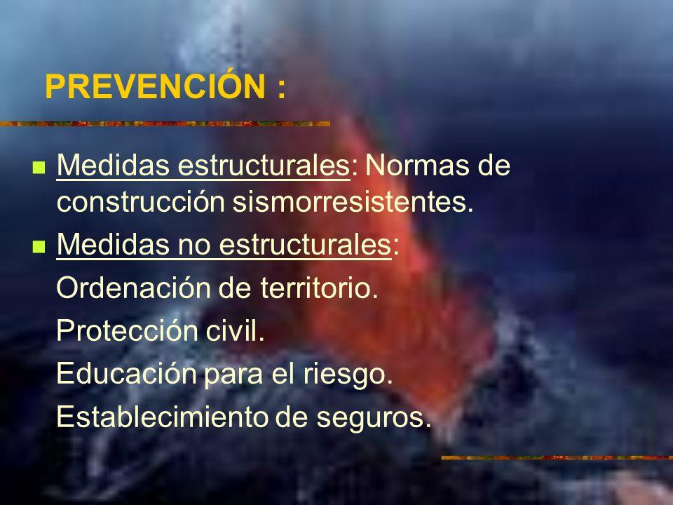 PREVENCIÓN :Medidas estructurales: Normas de construcción sismorresistentes. Medidas no estructurales: