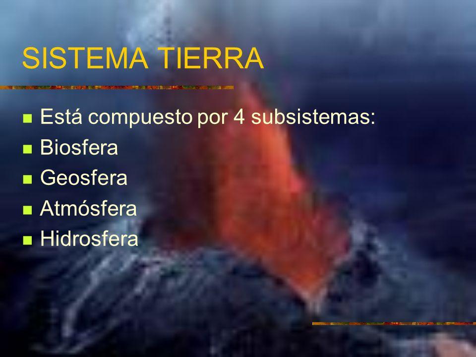 SISTEMA TIERRA Está compuesto por 4 subsistemas: Biosfera Geosfera