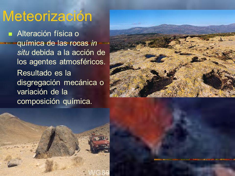 Meteorización Alteración física o química de las rocas in situ debida a la acción de los agentes atmosféricos.