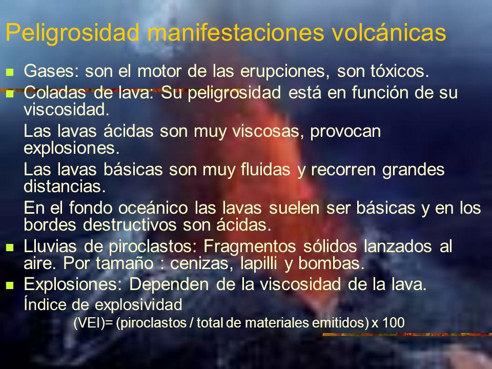 Peligrosidad manifestaciones volcánicas