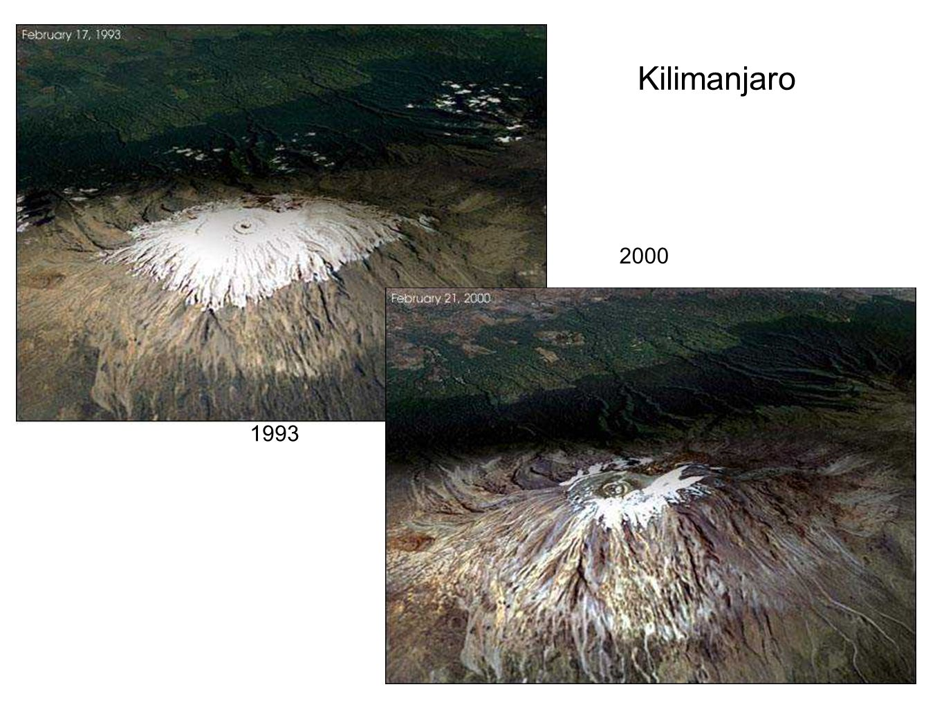 Kilimanjaro 2000 Images of Kilimanjaro taken from the shuttle in 1993 and in 2000. 1993 25
