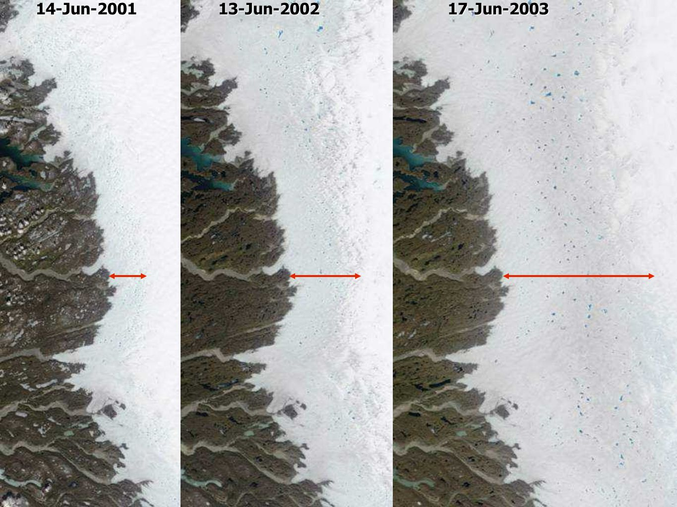 14-Jun-2001 13-Jun-2002. 17-Jun-2003. Satellite images reveal a widening melt area in early summer each year.