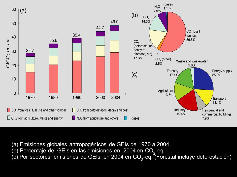 (a) Emisiones globales antropogénicos de GEIs de 1970 a 2004.